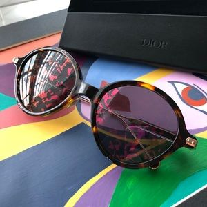 Dior Umbrage Havana Leaf Mirrored Sunglasses